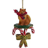 Pomeranian Red Candy Cane Ornament