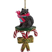 Pomeranian Black Candy Cane Ornament
