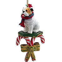 Bulldog White Candy Cane Ornament
