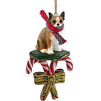Chihuahua Brindle & White Candy Cane Ornament