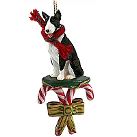 Bull Terrier Brindle Candy Cane Ornament