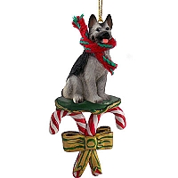 German Shepherd Black & Silver Candy Cane Ornament