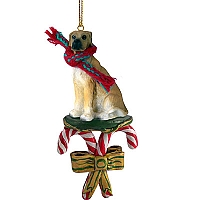 Great Dane Fawn w/Uncropped Ears Candy Cane Ornament