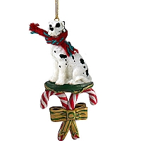 Great Dane Harlequin w/Uncropped Ears Candy Cane Ornament