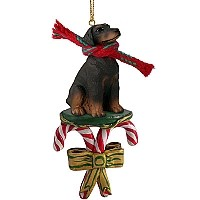 Doberman Pinscher Red w/Uncropped Ears Candy Cane Ornament