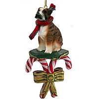Boxer Brindle w/Uncropped Ears Candy Cane Ornament