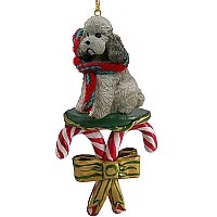 Poodle Gray w/Sport Cut Candy Cane Ornament