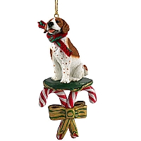 Pointer Brown & White Candy Cane Ornament