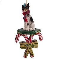 Rat Terrier Candy Cane Ornament
