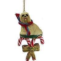 Lhasa Apso Blonde Candy Cane Ornament