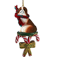 Japanese Chin Red & White Candy Cane Ornament