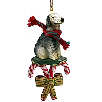 Bedlington Terrier Candy Cane Ornament