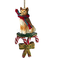 Finnish Spitz Candy Cane Ornament