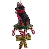 Rottweiler Candy Cane Ornament