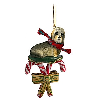 Dandie Dinmont Candy Cane Ornament