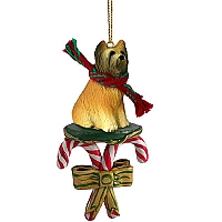 Briard Candy Cane Ornament