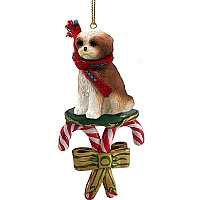 Shih Tzu Tan w/Sport Cut Candy Cane Ornament