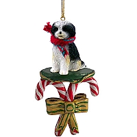 Shih Tzu Black & White w/Sport Cut Candy Cane Ornament