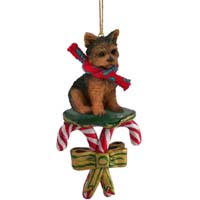 Yorkshire Terrier Puppy Cut Candy Cane Ornament