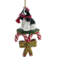 Cocker Spaniel Black & White Candy Cane Ornament