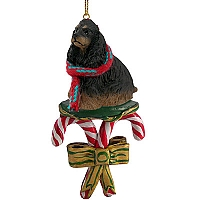 Cocker Spaniel Black & Tan Candy Cane Ornament