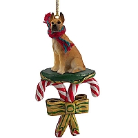 Great Dane Fawn Candy Cane Ornament