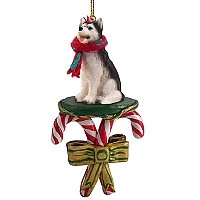 Husky Black & White w/Blue Eyes Candy Cane Ornament