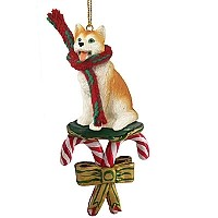 Husky Red & White w/Blue Eyes Candy Cane Ornament