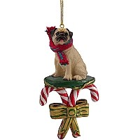 Pug Fawn Candy Cane Ornament