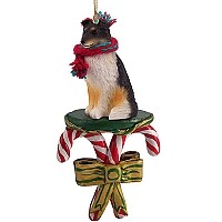 Sheltie Tricolor Candy Cane Ornament