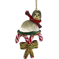 Shih Tzu Mixed Candy Cane Ornament