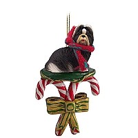 Shih Tzu Black & White Candy Cane Ornament