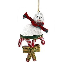 Shih Tzu White Candy Cane Ornament
