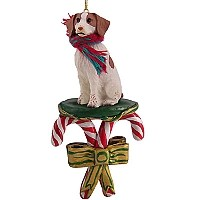 Brittany Brown & White Spaniel Candy Cane Ornament
