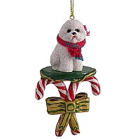 Bichon Frise Candy Cane Ornament