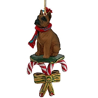 Boxer Tawny Candy Cane Ornament