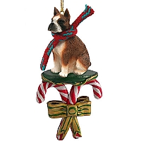 Boxer Brindle Candy Cane Ornament