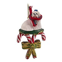 Maltese Candy Cane Ornament