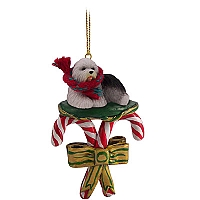 Old English Sheepdog Candy Cane Ornament