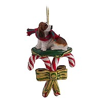 Basset Hound Candy Cane Ornament