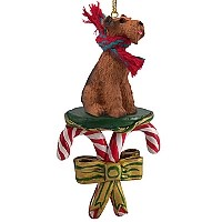 Airedale Candy Cane Ornament