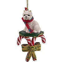 West Highland Terrier Candy Cane Ornament