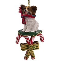 Papillon Brown & White Candy Cane Ornament