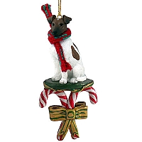 Fox Terrier Brown & White Candy Cane Ornament