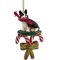 Welsh Corgi Cardigan Candy Cane Ornament