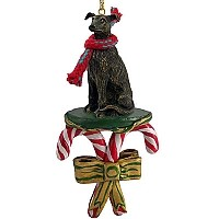 Greyhound Brindle Candy Cane Ornament