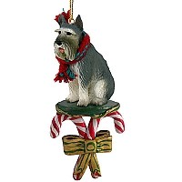 Schnauzer Giant Gray Candy Cane Ornament
