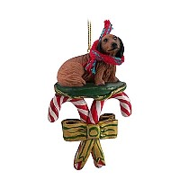 Dachshund Longhaired Red Candy Cane Ornament