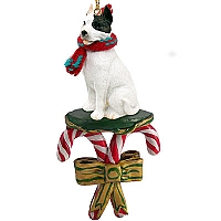 Pit Bull Terrier White Candy Cane Ornament
