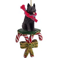 Schipperke Candy Cane Ornament